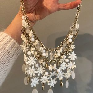 Anthropologie White floral gold necklace